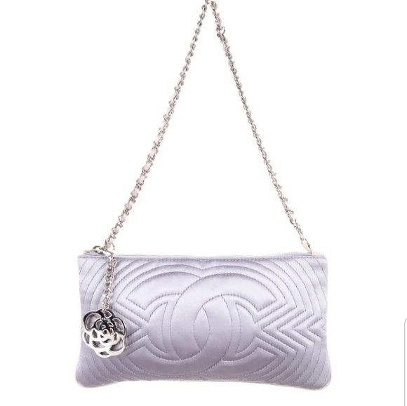 CHANEL Handbags - 100% authentic lavender satin Chanel evening bag